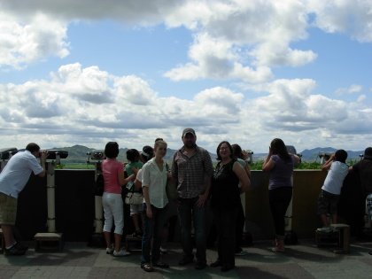 "At the observation tower overlooking the ""villiage."""