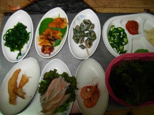 Side dishes at the raw fish market