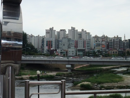 Typical Korean highrise apartment cluster.