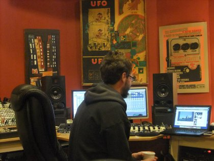 Todd at the helm at Acadia Recording.  Don't worry, the back of his head is all I ever see too.